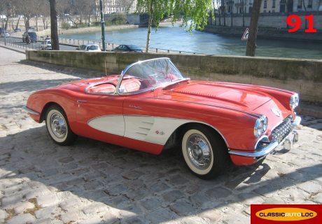 location chevrolet corvette c1 1958 rouge 1958 rouge villiers sur orge. Black Bedroom Furniture Sets. Home Design Ideas