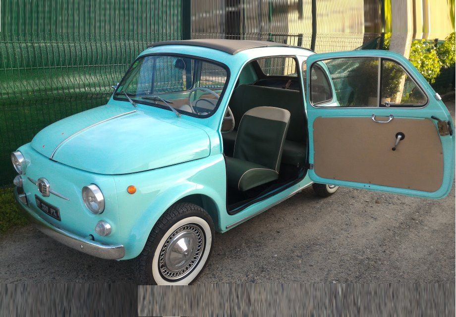 location fiat 500 1961 vert d 39 eau 1961 vert clair aucamville. Black Bedroom Furniture Sets. Home Design Ideas