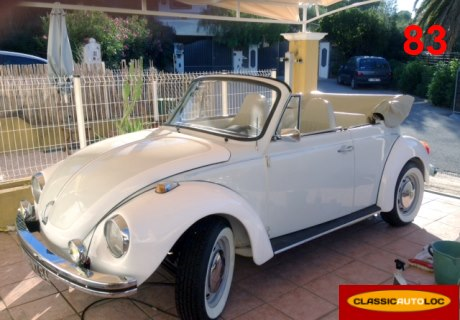 location vw coccinelle cabriolet 1976 blanc 1976 blanc roquebrune sur argens. Black Bedroom Furniture Sets. Home Design Ideas