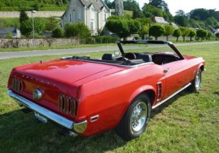Location Ford Mustang GT Cabriolet 1969 Rouge